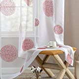 Sheer Curtains Farmhouse Curtains for Bedroom Living Room Sliding French Door Curtain Set of 2 Panels 72 inch Length Embroidered Floral Voile Drapes Privacy Window Curtains Red on White