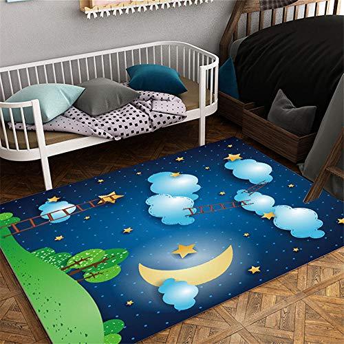RUGMRZ Auslegware Kinderzimmer Dunkelblauer Spielteppich romantischer Nachtmuster-weicher Teppichkarikaturstil Teppich Antirutsch Kinderzimmer Teppich Junge blau 80X120CM