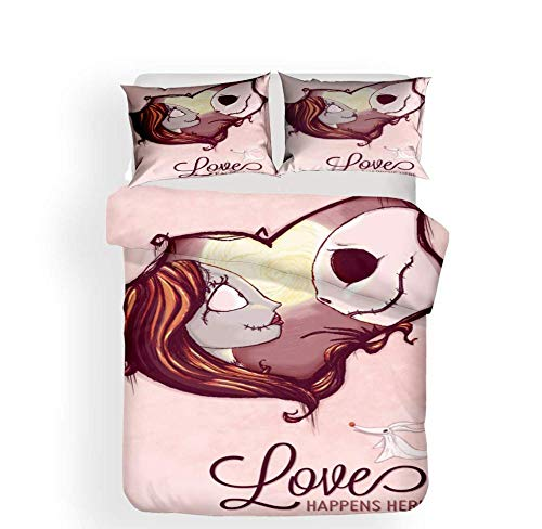 WEDSGTV Duvet Cover Double Zombie Girl Love 3 Piece Complete Bed Set – Complete Bedding Set 1 Duvet Cover With Zipper -2 Pillowcases Softness And Comfort,I-SetSingle:135×200cm