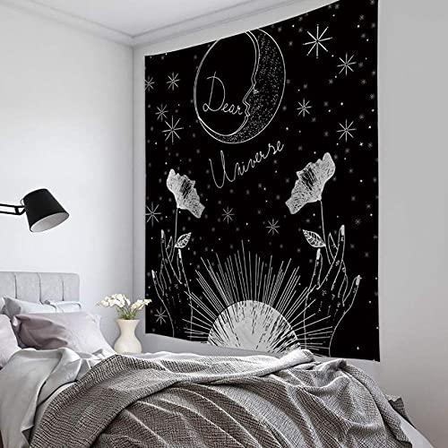 The Sun Tapestry Acquerello Appeso A Parete La Luna Arazzi Da Parete Carta Da Parati Boema In Bianco E Nero The Star Wall Art Decor150X200Cm(59X79Inch)