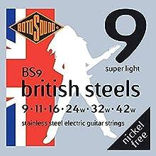 Juego de cuerdas para guitarra eléctrica Acero inoxidable británico Juego Calibre: 9, 11, 16, 24, 32, 42 Mantenga el grupo unido con las cuerdas de Rotosound Calidad óptima del sonido