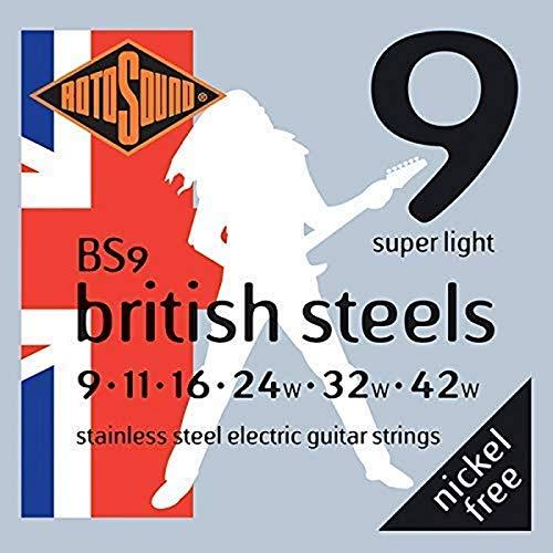 Rotosound BS9 - Juego de cuerdas para guitarra eléctrica de acero inoxidable, 11 16 24 32 42