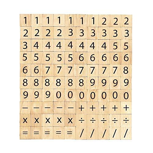 Abbaoww 100 Pcs Wood Scrabble Tiles Numbers Symbols for Crafts, Pendants, Spelling, Scrapbooking, Decoration