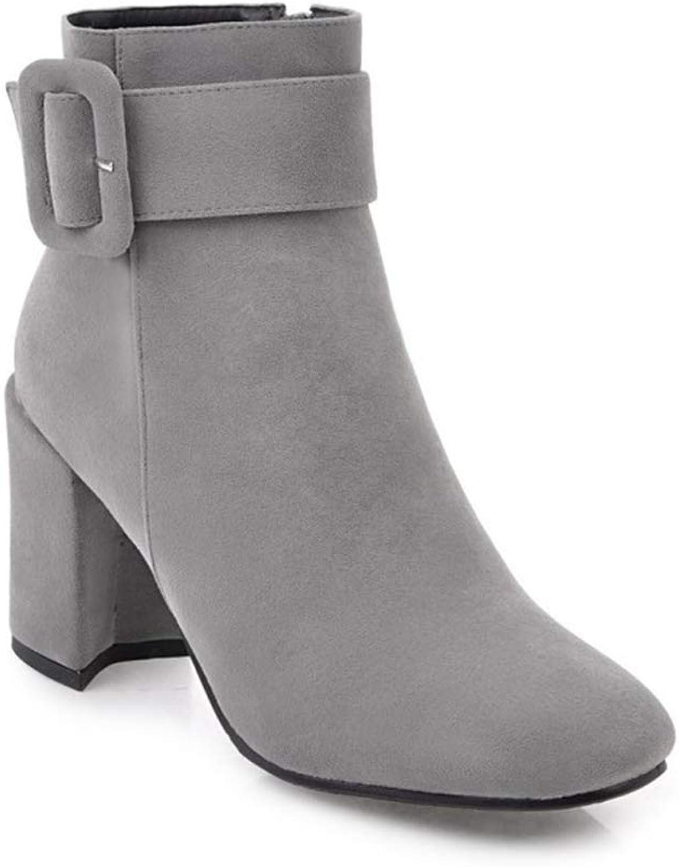Fancyww Women Suede Boots High Heel Buckle Strap Martin Boots