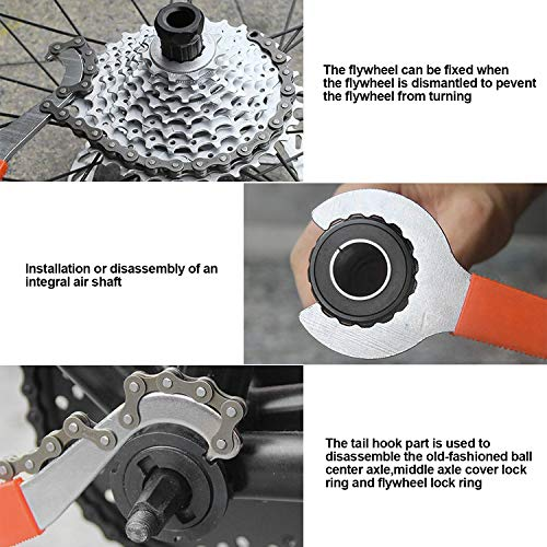 QKURT Bicycle Flywheel Remover Sprocket Remover Tool Set, Bicycle Cassette Removal Tool with Chain Whip + Auxiliary Wrench + Rotor Lockring Removal with Pin + Sprocket Remover
