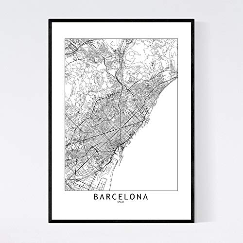 Barcelona Kaart Print Barcelona Kaart Poster Barcelona Muur Kunst Barcelona Print Barcelona Kaart Muur Barcelona Straat Kaart