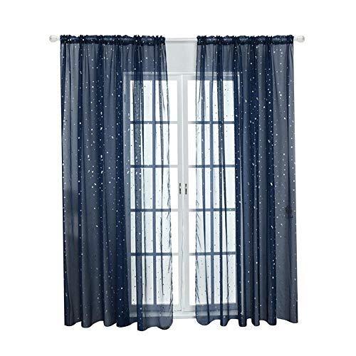 Tulle Window Door Curtain Drape Bedroom Living Room Coffee Shop Window Treatment Decorations(Navy blue)