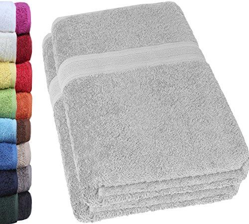 NatureMark 2er Pack DUSCHTÜCHER Premium Qualität 70x140cm DUSCHTUCH Dusch-Handtuch Doppelpack Farbe: Silber grau