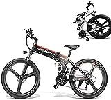 Bicicleta eléctrica de nieve, 350W eléctrica plegable bicicleta de montaña, 26' bicicleta eléctrica trekking, bicicleta eléctrica for Adultos con extraíble 48V 10AH de iones de litio 21 Velocidad Engr