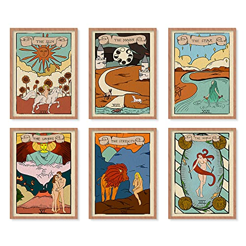 "YUMKNOW Boho Hippie Room Decor - Unframed 8x10"" Set of 6, Cute Tarot Card Wall Art Print Posters for Room Aesthetic, Witchy Alt Indie Astrology Kawaii for Teen, Bohemian Vintage Wall Decor for Bedroom"