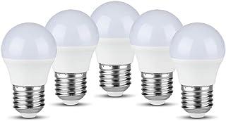 Bombilla LED de pelota de golf E27, 5,5 W, equivalente a 40 W, 3000 K, luz blanca cálida, no regulable, paquete de 5