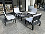 Ipae Progarden 84117 Casa più, Set of 5 Outdoor Living Room Anthracite Colour with Cushions, Resin Material, Seats 78x78xh70, Multifunctional Module cm 78x78h32, Polypropylene