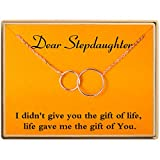 Ldurian Gifts for Stepdaughter Collar Dos Colgantes Interlocking Infinity 2 Círculos Querida Hijastra Collar Regalos Ideas