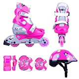 Kinder Inline Skates Set Polly LED Leuchtrolle Gr. 26-29, 30-33 verstellbar + Schutzset + Helm (26-29 verstellbar) -
