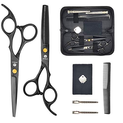 Hair Cutting Scissors Kits 6' Stainless Steel Hair Thinning Scissors Professional Barbers Hair Scissors for Men Women - Salon Home Black Hairdressing Scissors Set (8 PCS Hair Scissor Set) by AF Rayan
