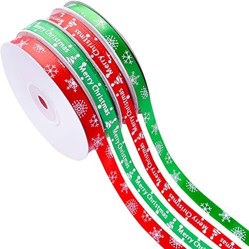 Gudotra Kit 88metri Nastro Raso Natalizio Colori Misti Nastrini Decorativo Decorazioni per Fai da Te Natale Feste Regalo