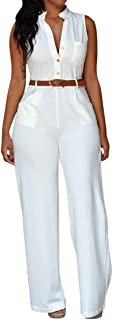 Womens Button Up Printed Long Wide Leg Pant Party Jumpsuits with Belt