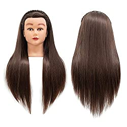 Cosmetology Mannequin Head Hair Styling 26-28inches Training Head Synthetic Fiber Manikin Head Doll Head with Clamp (4#)