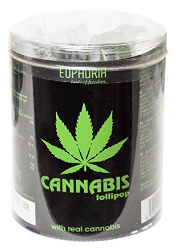 Euphoria Cannabis Lollipops (10 Stück) | Flat Lutscher - Lolly mit Hanf ätherisches Öl (Tube)