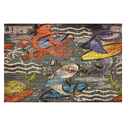 1000 piezas de dibujos animados lindo pez de mar de patrones sin fisuras fondo de surf vintage tiburón pieza grande rompecabezas para adultos juguete educativo para niños juegos creativos entretenimie