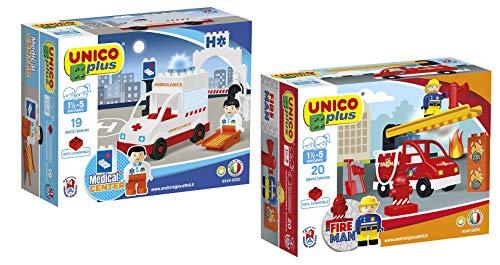 Unico Plus Bausteine Set Feuerwehrauto Ambulanz