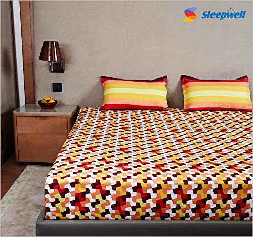 SleepX Bedsheet 144 Tc, 100 Percent Fine Cotton Bedsheet, with 2 Pillow Covers, Colour Fastness and No Shrinking, Brown