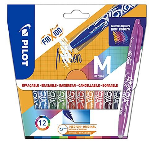 Pilot Frixion Ball – Penna cancellabile con inchiostro termosensibile – Penna roller ricaricabile realizzata in plastica riciclata – 12 colori – punta media