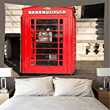 JMHomeDecor Tapiz Impresión 3D Creativa Hermosa Cabina De Teléfono Roja Cubierta De Cama Portátil De Peso Ligero Colgante De Pared Multifunción 350 (W) X256 (H) Cm