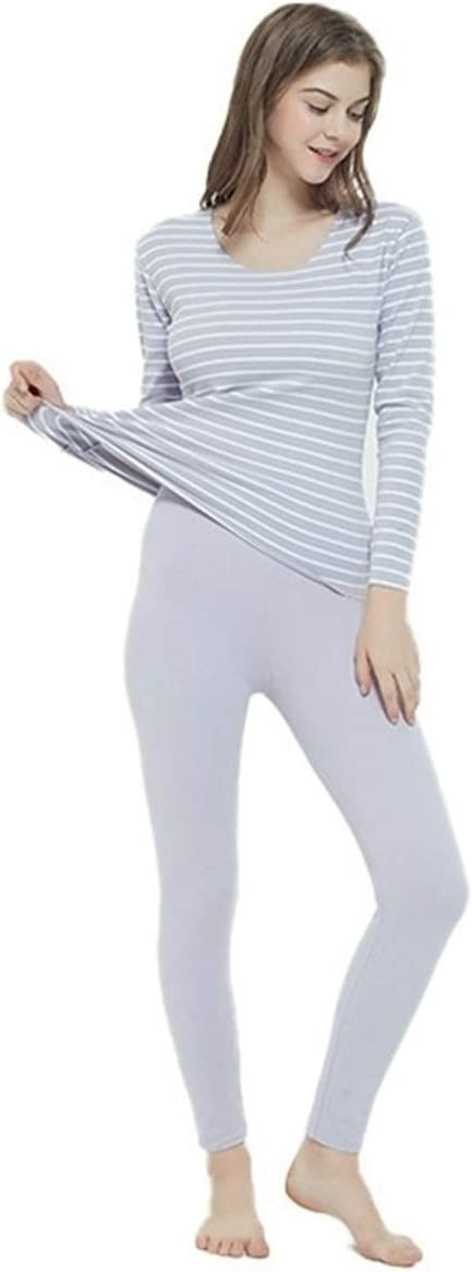 Glqwe No Trace Autumn Winter Plus Size 7XL Long Johns for Women Stripe Fever Thermal Underwear Women's Warm Sets Tops and Pants (Color : Beige, Size : 5XL)