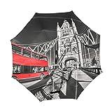XiangHeFu Paraguas invertido de Doble Capa, diseño de la Famosa Torre de Londres, Plegable, Resistente al Viento, protección UV, Gran Recto para el Coche con Mango en Forma de C