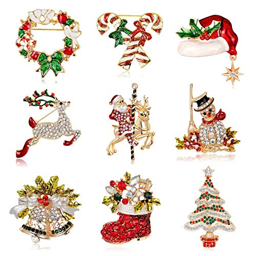 Fesciory 10 Pieces Christmas Brooch Pins Set for Women, Multi-Colored Rhinestone Crystal Christmas Jewelry Gifts for Girls Including Christmas Tree, Santa Claus, Jingle Bells, Reindeer (9 Pcs Set)