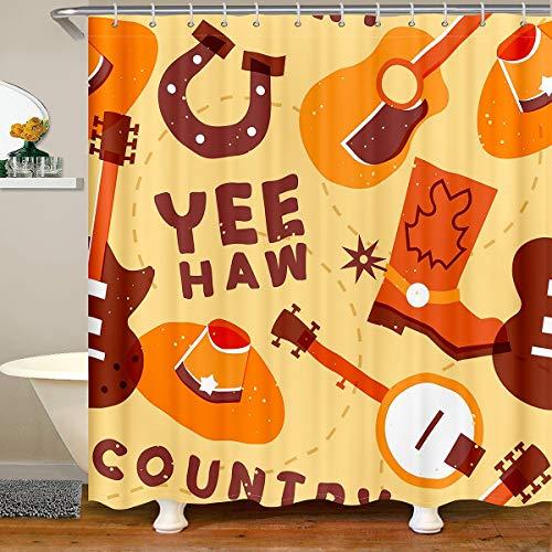 Cartoon Guitar Shower Curtain Music Guitar Bathroom Waterproof Shower Curtains Kids Boys Girls Cute Rock Music Shower Curtain Accessories with Hooks Western Curtains,180x210cm
