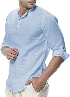 THWEI Mens Linen Henley Shirt Loose Fit Roll Up Long Sleeve Casual Solid T-Shirt