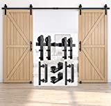 HomLux 12ft Heavy Duty Sturdy Sliding Barn Door Hardware Kit, Double Door-Smoothly and Quietly, Easy to Install and Reusable - Fit 1 3/8-1 3/4' Thickness & 36' Wide Door Panel, Black(I Shape Hanger)