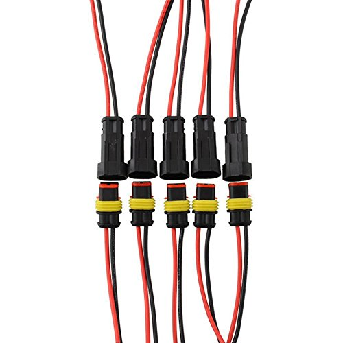 Mintice trade; 5 X 2-Polig Kabel Steckverbinder Stecker Wasserdicht Schnellverbinder Draht Elektrisch Ausrüstung KFZ LKW Auto