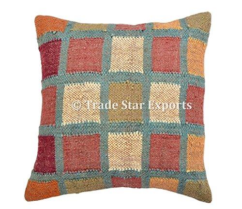 Trade Star Exports - Cojín de yute hecho a mano, funda de almohada india de 18 x 18 cm, manta decorativa, funda de almohada de yute para exteriores, fundas de almohada bohemias