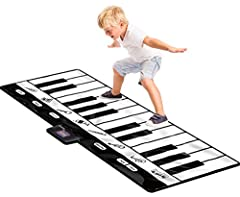 Jumbo Size! 70 x 29 inches - 24 keys. Made of heavy duty vinyl material 4 modes to select - Play, Record, Playback and Demo 8 selectable musical instrument sounds - Guitar, Piano, Clarinet, Trumpet, Saxophone, Violin, Banjo, and Xylophone Adjustable ...