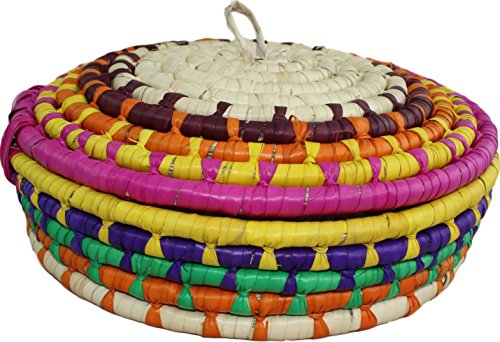 Handwoven Palm Tortilla Basket Keeper Warmer Made in Mexico (Small, Pink)