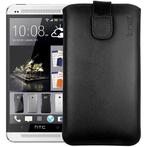 mumbi Echt Ledertasche kompatibel mit HTC One M7 Hülle Leder Tasche Case Wallet, schwarz