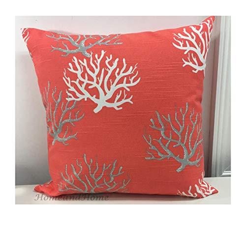 Funda de almohada decorativa de lona con cierre de cremallera, color coral y salmón, color azul marino