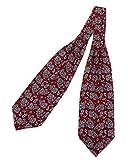 prettystern Herren Krawatten-Schal 100% Seide 2-lagig zum Binden Paisley Halstuch - 6. Rot Paisley