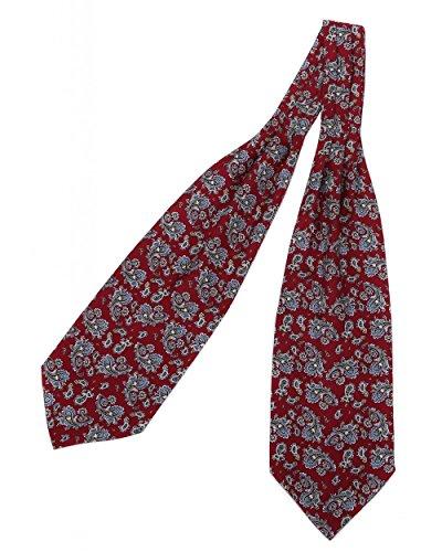 prettystern Herren Krawatten-Schal 100{cc03b90b5b7e101afc95f0f05a28c6bd6cc20f884bcd42bab35c8b70664f1f2d} Seide 2-lagig zum Binden Paisley Halstuch - 6. Rot Paisley