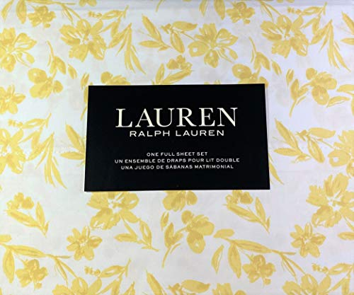 Lauren 4 Piece Full Size Floral Print Sheet Set 100% Cotton Golden Yellow and White