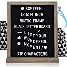 """Black Felt Letter Board with Letters 12""""x14"""", Changeable Message Board with 719 White Letters, 2 Letter Bags, Nail File & Scissors, Letter Boards with Stand for Farmhouse Home Decor by Muga"""