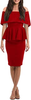 Womens Off Shoulder Party Dress Bodycon Sexy Bandage Ruffle Peplum Cocktail Midi Dresses
