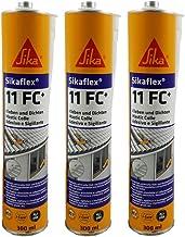 Sika 3x Sikaflex 11FC+ voor lijmen en afdichten, voor binnen en buiten, 300 ml, effen wit