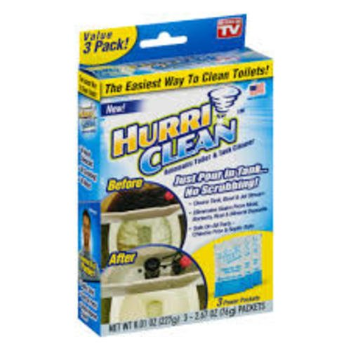Hurriclean Automatic Toilet Tank Cleaner for Hands Free Removal of Stains, Rust and Mineral Deposits with No Chlorine or Harsh Chemicals, 3 Packet Pack
