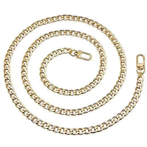 Vordas Cadenas de Metal Correas de Hombro, DIY Bolso de Mano Cadena para Bolso de Mano Hombro Cruz Cuerpo Bolsa 120 cm(Dorado)