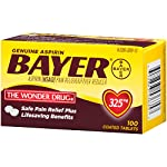 Genuine Bayer Aspirin 325mg Coated Tablets, Pain Reliever and Fever Reducer, 100 Count 13 Provides safe, proven pain relief when taken as directed Is caffeine-free Is sodium-free