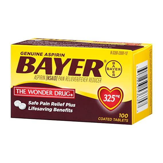 Genuine Bayer Aspirin 325mg Coated Tablets, Pain Reliever and Fever Reducer, 100 Count 2 Provides safe, proven pain relief when taken as directed Is caffeine-free Is sodium-free